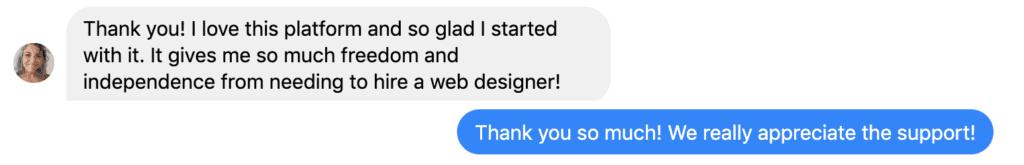 Weeknight Website Testimonial from a Happy User.